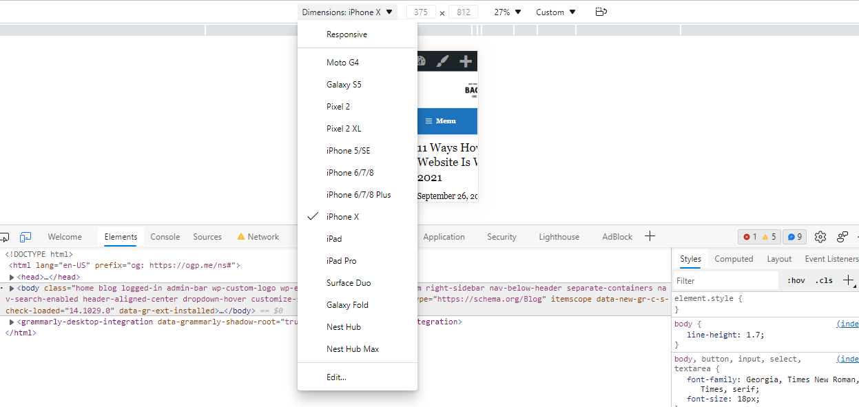 How To View Mobile Version Of Website On Chrome USING DEVELOPER TOOL